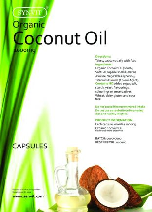 Organic Virgin Coconut Oil 1000mg Softgel Capsules ENERGY SYNVIT®